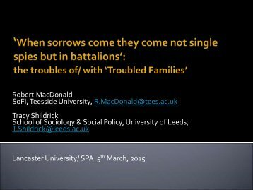 Robert MacDonald - The troubles of-with Troubled Families