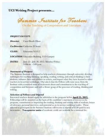 Summer Institute for Teachers - University of California, Irvine