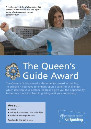 Download the Queen's Guide Award leaflet here - Girlguiding UK