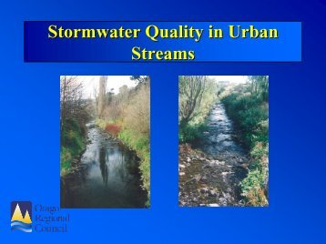Stormwater quality in urban streams, Dunedin vs national values