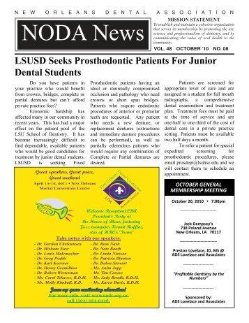 Vol. 48 october - New Orleans Dental Association