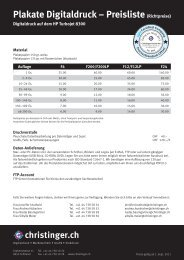 Plakate Digitaldruck – Preisliste (Richtpreise)