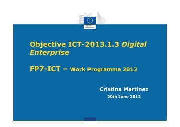Objective ICT-2013.1.3 Digital Enterprise - ICTIC.org