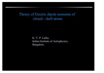Theory of Electric dipole moments of closed - shell atoms