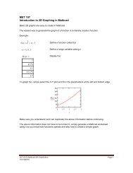 Mathcad 2D graphs