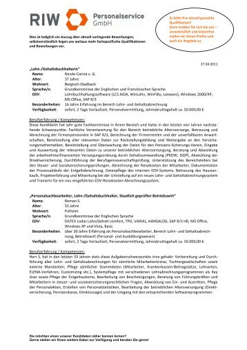Newsletter Kalenderwoche 17/2011 - RIW Personalservice GmbH