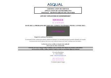 LISTE SOUDAGE CODIFIEE AU 27 JUIN 2012 - Asqual