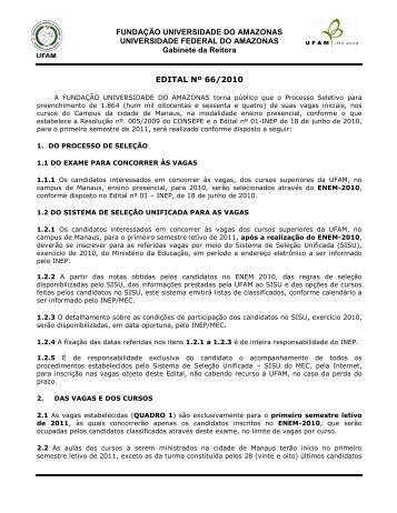 Edital nº 66/2010 - PROEG - Ufam