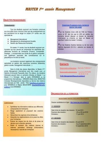 MASTER 1 ère année Management - IAE Poitiers