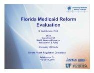 Florida Medicaid Reform Evaluation - Medicaid Reform Evalutation