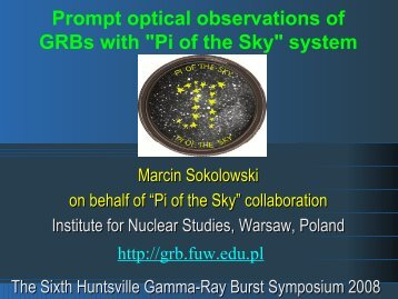 "Prompt optical observations of GRBs with ""Pi of the Sky"" system"