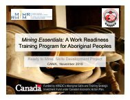 Mining Essentials: A Work Readiness Training Program for ... - MiHR