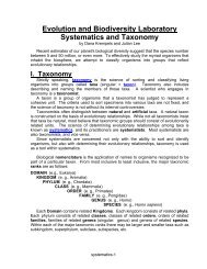 Evolution and Biodiversity Laboratory Systematics and Taxonomy
