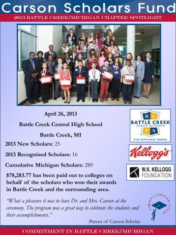 Learn more about the Battle Creek Chapter - Carson Scholars Fund
