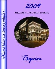 Əlamətdar və tarixi günlər təqvimi - 2009 - Azərbaycan Milli ...