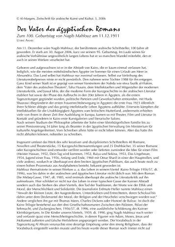Der Vater des ägyptischen Romans -  Al-Maqam, Zeitschrift für ...