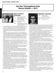 Del Mar Thoroughbred Club Owner Profiles — 2012
