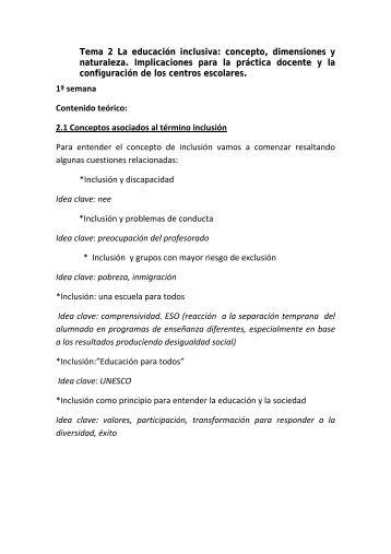 Tema 2 La educación inclusiva: concepto, dimensiones y naturaleza ...