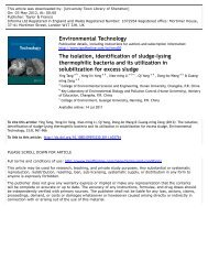 The isolation, identification of sludge-lysing thermophilic bacteria ...