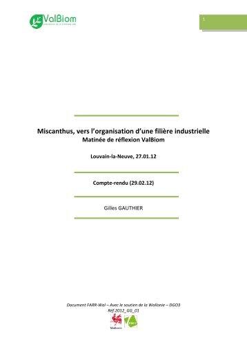 Miscanthus, vers l'organisation d'une filière industrielle - ValBiom