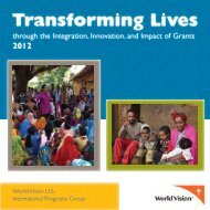 Transforming lives through the integration, innovation ... - World Vision