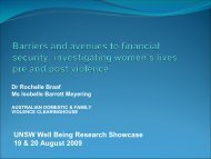 Barriers and avenues to financial security - Australian Domestic and ...