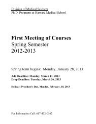 First Meeting of Courses Spring Semester 2012-2013 - Harvard ...