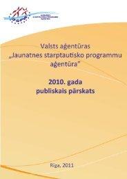 2010. gada darbības pārskats - Jaunatnes starptautisko programmu ...