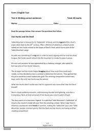 Form 3 English Test Test 3: Writing correct sentences ... - Pearson