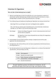 Checkliste für Eigentümer und Liste Kontrollunternehmen - Repower