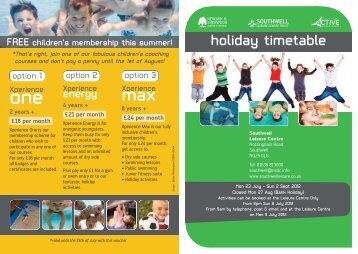 Holiday Timetable - Southwell.pdf - Newark and Sherwood District ...
