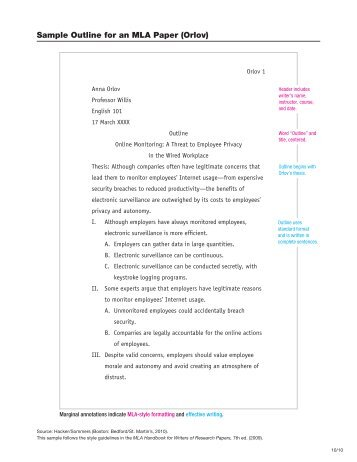 mla writing format examples