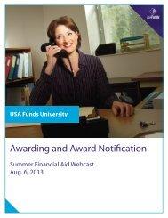 Awarding and Award Notification Manual - USA Funds