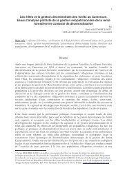 Les élites et la gestion décentralisée des forêts au Cameroun. Essai ...