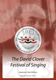 2013 Festival Programme - David Clover Festival of Singing