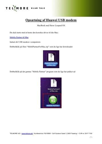 Opsætning af Huawei USB modem - Telmore