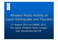 Amateur Radio Activity at Japan Earthquake and Tsunami - IARU