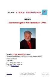 Siart + Team News Sondernummer Umsatzsteuer 2010