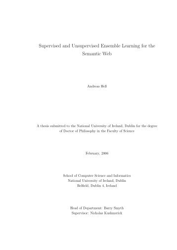 Supervised and Unsupervised Ensemble Learning ... - Andreas Hess