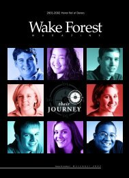 Wake Forest Magazine December 2002 - Past Issues - Wake Forest ...