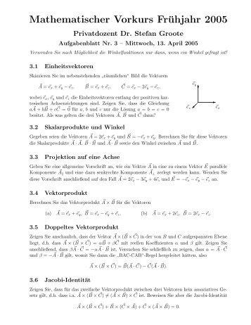 Mathematischer Vorkurs Frühjahr 2005 - THEP Mainz