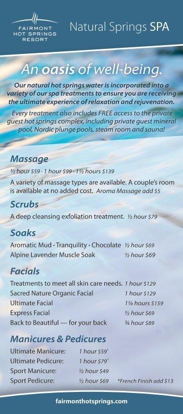 Spa Brochure PDF - Fairmont Hot Springs Resort