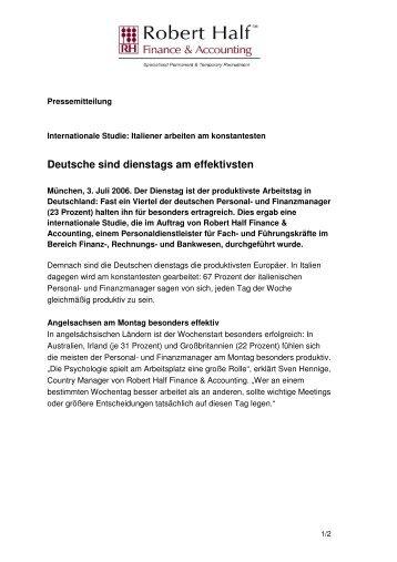 Deutsche sind dienstags am effektivsten - Robert Half