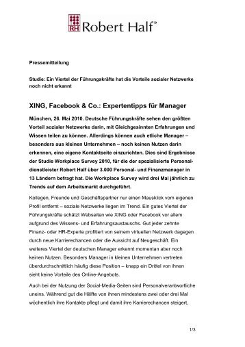 XING, Facebook & Co.: Expertentipps für Manager - Robert Half
