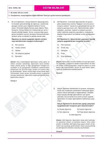 2012 KPSS Eğitim Bilimleri Soru ve Çözümleri için LÜTFEN!