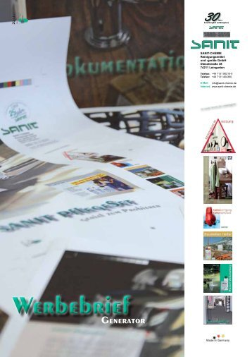 Werbebrief Generator - SANIT Reinigungsmittel und