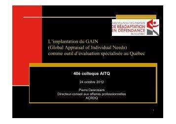 L'implantation du GAIN - Association des intervenants en ...
