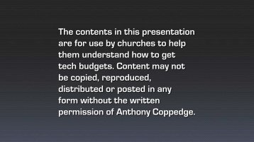 How to get Budget - Anthony Coppedge