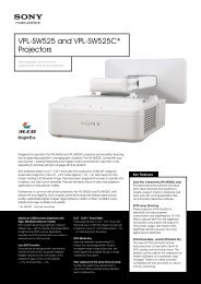 VPL-SW525 and VPL-SW525C* Projectors
