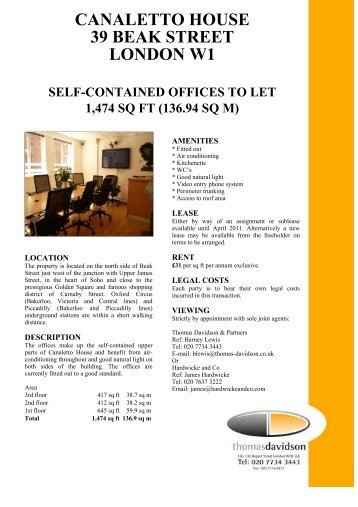 canaletto house 39 beak street london w1 self-contained ... - FOCUS